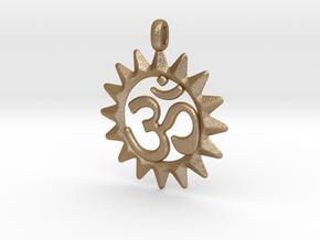 OM Symbol Jewelry Pendant in Matte Gold Steel
