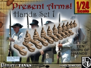 1-24 Present Arms Hand Set1 in Smooth Fine Detail Plastic