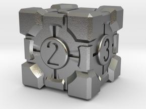 Companion Cube Dice in Natural Silver