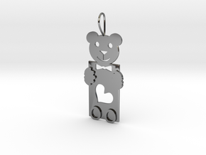 Teddy And Heart in Fine Detail Polished Silver