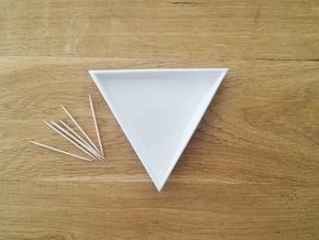 Triangular Plate Large  in Gloss White Porcelain