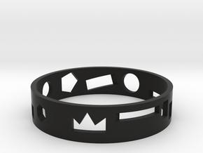 Geometric ring in Black Natural Versatile Plastic: Medium
