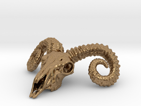 Large Ram Skull - Pendant in Natural Brass