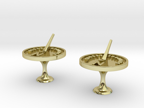 Sundial Cufflinks in 18k Gold Plated Brass