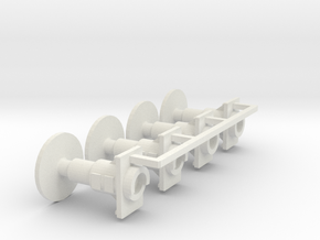 7mm Oleo Wagon Buffer set X4 in White Strong & Flexible