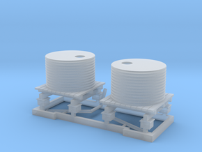 HO 2 x Small Water Tanks and Stands in Smooth Fine Detail Plastic