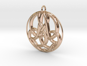 Monogram Initials JJA Pendant in 14k Rose Gold