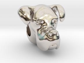 Boxer Dog Bracelet Charm in Rhodium Plated Brass