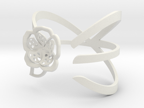 FLOWER BRACELET in White Natural Versatile Plastic: Medium