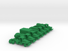 1/285 Scale CCKW Truck Set Of 7 in Green Strong & Flexible Polished