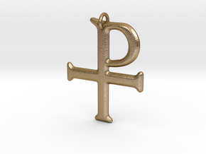 Tau-Rho Staurogram Pendant in Polished Gold Steel