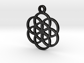 Flower Of Life Pendant in Matte Black Steel