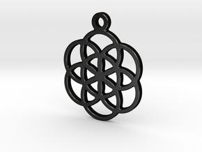 Flower Of Life Pendant in Matte Black Steel