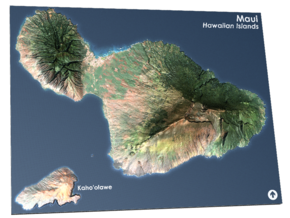 Maui Map, Hawaiian Islands in Matte Full Color Sandstone