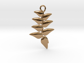 Hanging Heliconia Pendent in Polished Brass