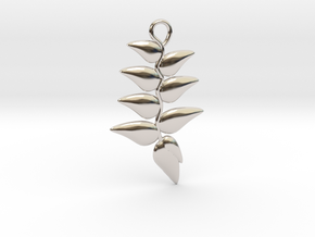 Hanging Heliconia Pendent in Rhodium Plated Brass