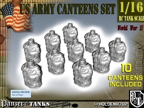 1-16 X10 US M1910 Canteens in Smooth Fine Detail Plastic