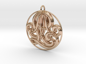 Monogram Initials AAL Pendant in 14k Rose Gold