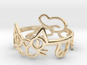 Frisky Cat Ring in 14k Gold Plated Brass: 12 / 66.5