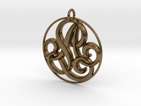 Monogram Initials AL Pendant in Natural Bronze