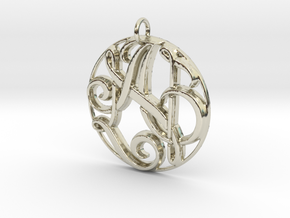 Monogram Initials AN Pendant in 14k White Gold