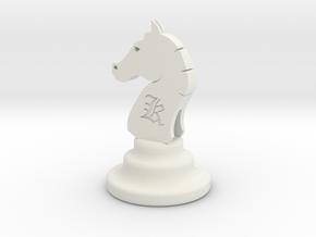 Chess Knight in White Natural Versatile Plastic