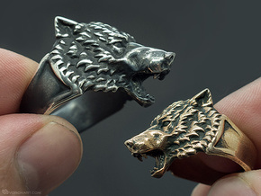 Wolf Head Ring in Natural Brass: 11.5 / 65.25