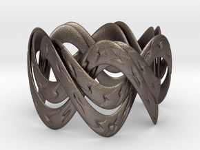 Double Septafoil Bracelet in Polished Bronzed Silver Steel