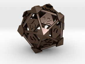 Prism D20 in Polished Bronze Steel: Large