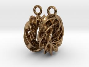 Twisted Scherk Linked 4,3 Torus Knots Earrings in Natural Brass