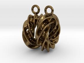 Twisted Scherk Linked 4,3 Torus Knots Earrings in Natural Bronze