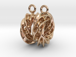 Twisted Scherk Linked 4,3 Torus Knots Earrings in 14k Rose Gold Plated Brass