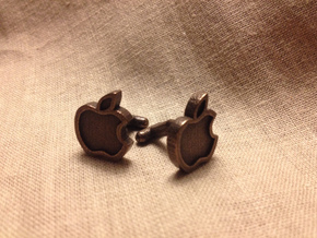 Apple Cufflink in Polished Bronze Steel