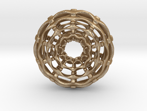 0620 F(x,y,z)=0 W Skeletal Tori 2 [10,10] (d=6cm) in Matte Gold Steel