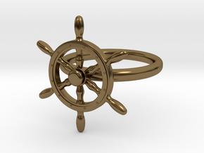 Nautical Steering Wheel Ring - US Size 08 in Interlocking Polished Bronze