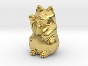 Maneki Neko tiny polished version in Polished Brass: Small