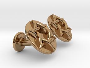 Magen David Cufflinks in Polished Brass