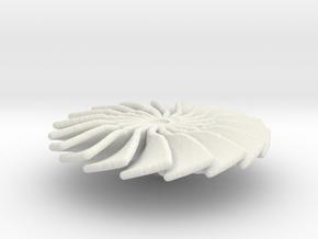 20 mm Diameter Turbo Fan for Jet Engines in White Natural Versatile Plastic