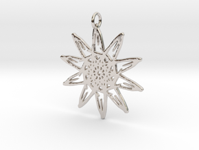 Sunflower Pendant - 46mm in Rhodium Plated Brass