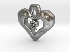 Heart Pendant with Gem holder in Natural Silver