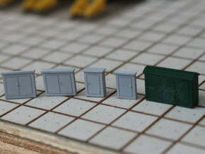 N Scale 5 Electrical Cabinets in Smooth Fine Detail Plastic