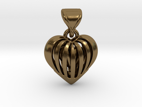 Coeur en cage in Polished Bronze (Interlocking Parts)