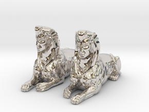 Pair of Sphinx Statues in Rhodium Plated Brass