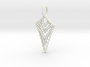 Melting Web Pendant in White Natural Versatile Plastic: Medium