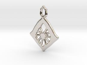 Diamond Web Pendant in Rhodium Plated Brass: Large