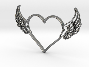 Heart 1 in Polished Silver