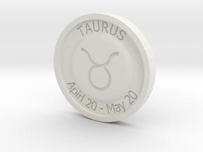 Taurus Coin in White Natural Versatile Plastic