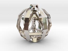 Tetrahedron in Rhodium Plated Brass