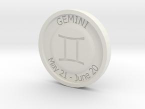 Gemini Coin in White Natural Versatile Plastic