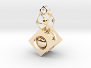 Square ball in 14K Yellow Gold